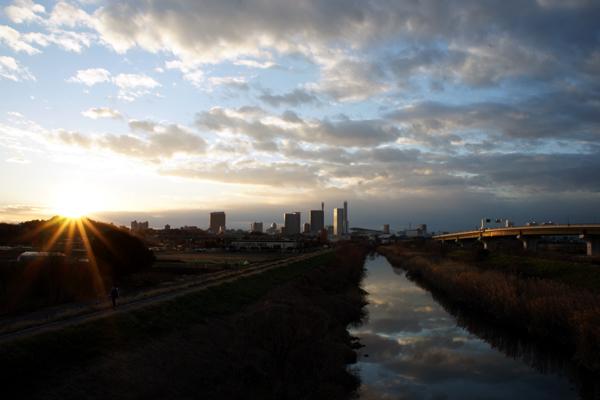見沼の夕照